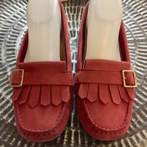 Ugg Loafers red leather Sz 8.5 Good Condition